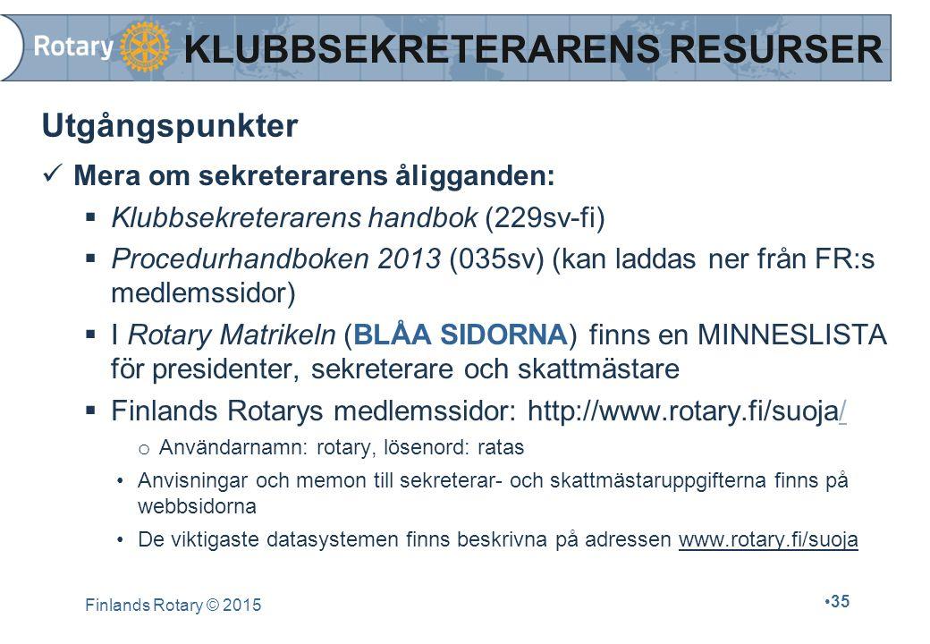 Finlands Rotary © 2015 35 Utgångspunkter Mera om sekreterarens åligganden:  Klubbsekreterarens handbok (229sv-fi)  Procedurhandboken 2013 (035sv) (k