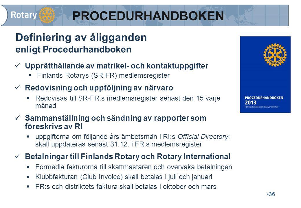 36 Definiering av åligganden enligt Procedurhandboken Upprätthållande av matrikel- och kontaktuppgifter  Finlands Rotarys (SR-FR) medlemsregister Redovisning och uppföljning av närvaro  Redovisas till SR-FR:s medlemsregister senast den 15 varje månad Sammanställning och sändning av rapporter som föreskrivs av RI  uppgifterna om följande års ämbetsmän i RI:s Official Directory: skall uppdateras senast 31.12.