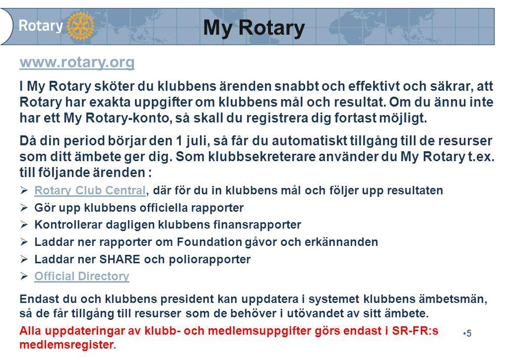 5 www.rotary.org I My Rotary sköter du klubbens ärenden snabbt och effektivt och säkrar, att Rotary har exakta uppgifter om klubbens mål och resultat.