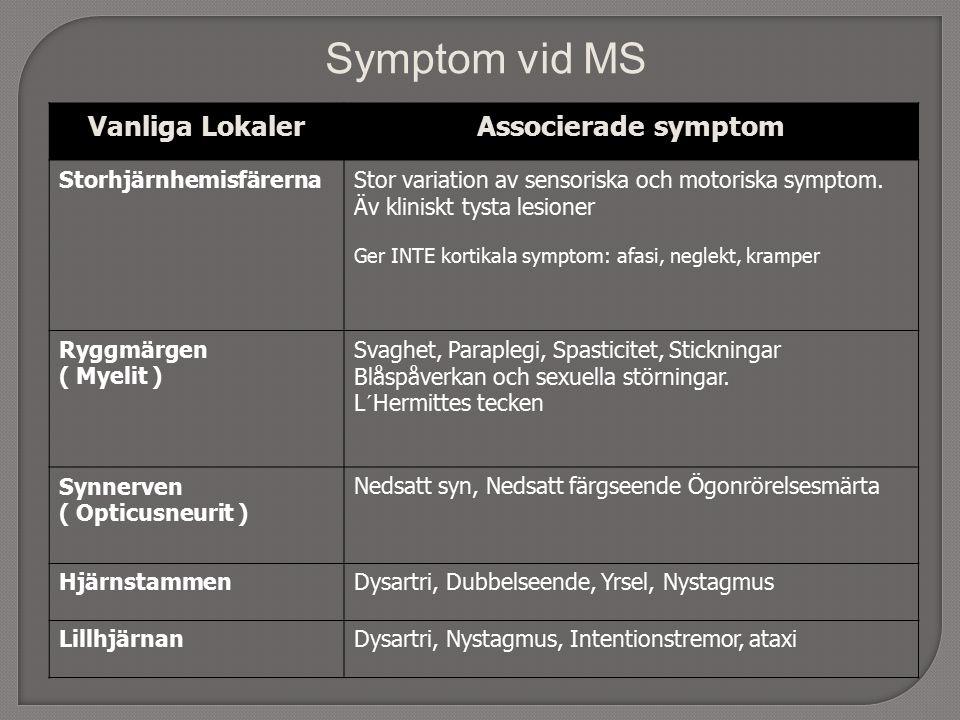 Vanliga LokalerAssocierade symptom StorhjärnhemisfärernaStor variation av sensoriska och motoriska symptom.