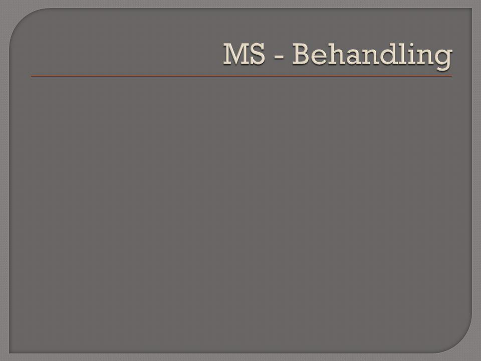 Spasticitet Peroral Behandling:Baklofen dantrolene diazepam Fokal hämmande spasticitet: Botox ( botulinumtoxin inj lokalt i muskel ) Svår generell spasticitet:Baklofen intrathekalt via subcutan pump Miktionsstörningar Miktionsstörningar Anticholinerga prep Sexuella störningar Sexuella störningar Viagra mfl Trötthet Trötthet Modiodal, Amfetamin-analoger Depression Depression SSRI, SNRI Smärta Smärta Antiepileptika: Gabapentin Karbamazepin Tricykliska Gångsvårigheter Gångsvårigheter4-aminopyridine (Fampyra)