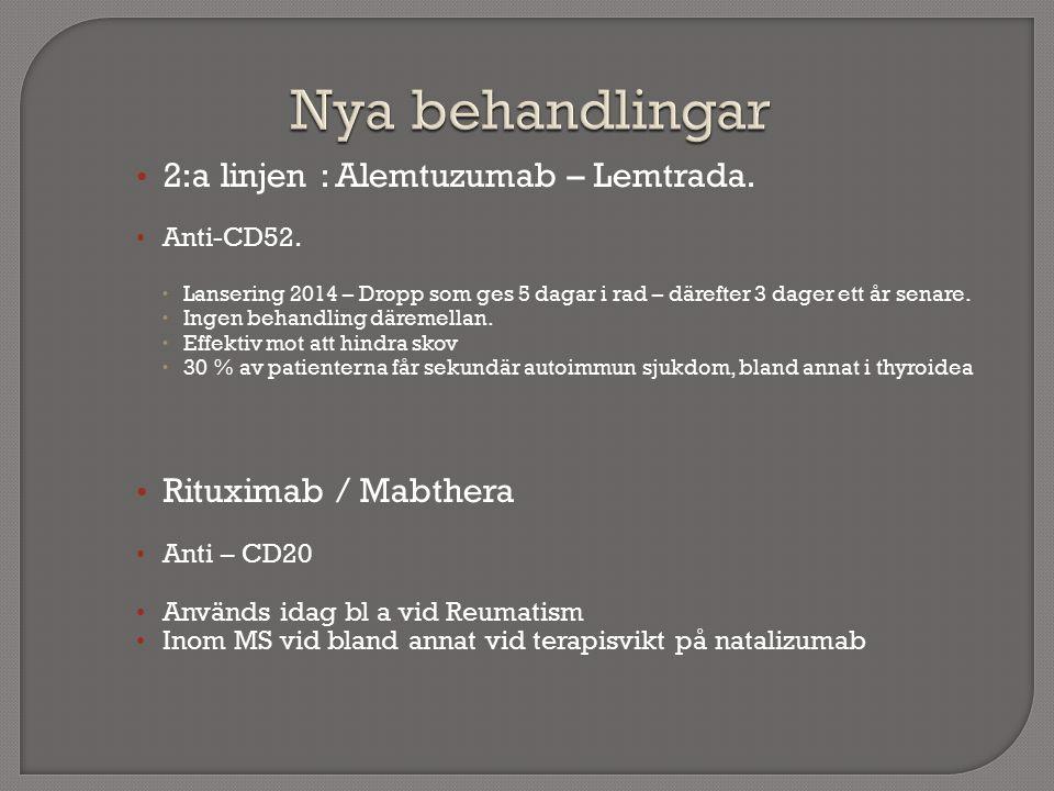 2:a linjen : Alemtuzumab – Lemtrada. Anti-CD52.