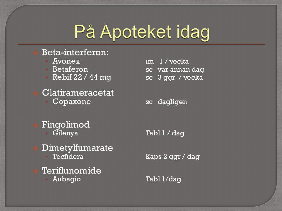  Beta-interferon: Avonex im 1 / vecka Betaferon sc var annan dag Rebif 22 / 44 mg sc 3 ggr / vecka  Glatirameracetat Copaxone sc dagligen  Fingolimod GilenyaTabl 1 / dag  Dimetylfumarate Tecfidera Kaps 2 ggr / dag  Teriflunomide AubagioTabl 1/dag