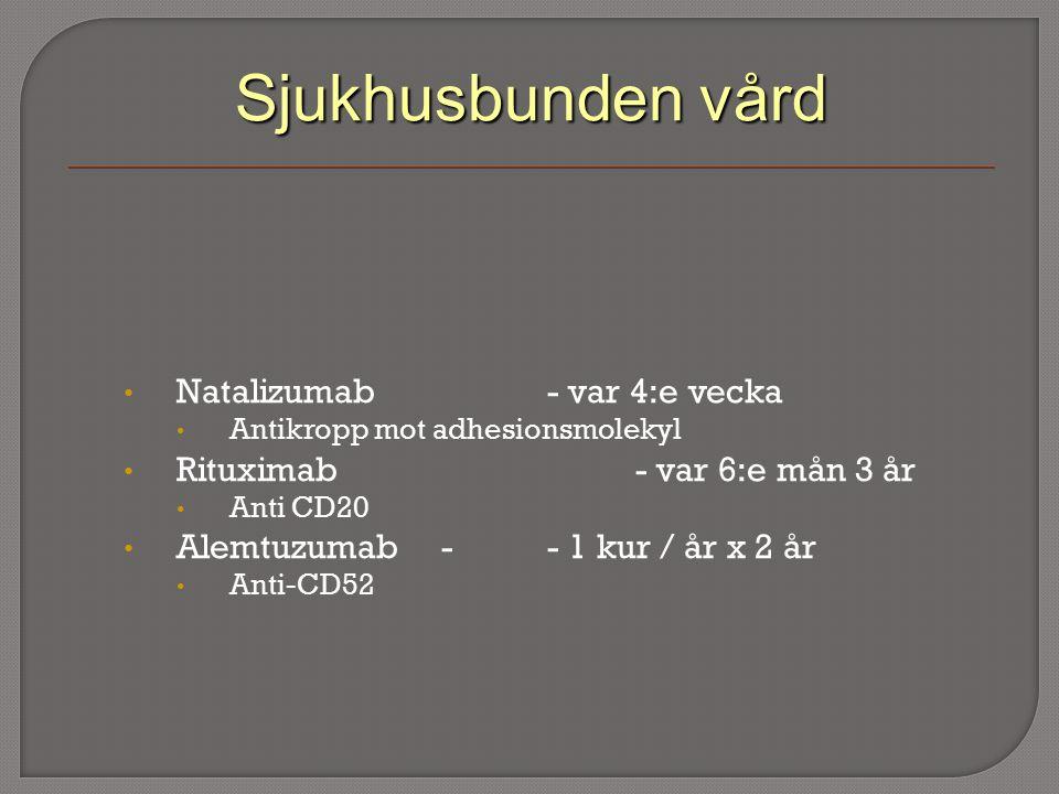 Sjukhusbunden vård Natalizumab- var 4:e vecka Antikropp mot adhesionsmolekyl Rituximab - var 6:e mån 3 år Anti CD20 Alemtuzumab-- 1 kur / år x 2 år Anti-CD52