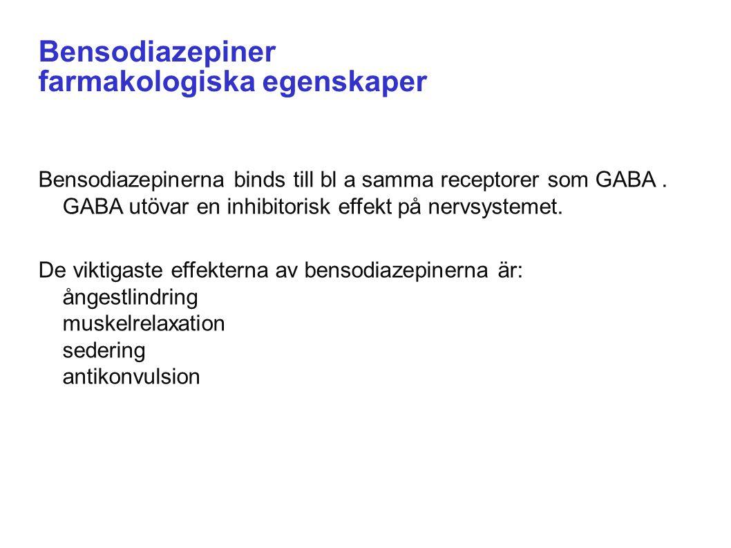 18/09/2016 Bensodiazepiner farmakologiska egenskaper Bensodiazepinerna binds till bl a samma receptorer som GABA.