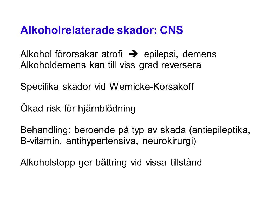 Alkoholrelaterade skador: CNS Alkohol förorsakar atrofi  epilepsi, demens Alkoholdemens kan till viss grad reversera Specifika skador vid Wernicke-Korsakoff Ökad risk för hjärnblödning Behandling: beroende på typ av skada (antiepileptika, B-vitamin, antihypertensiva, neurokirurgi) Alkoholstopp ger bättring vid vissa tillstånd