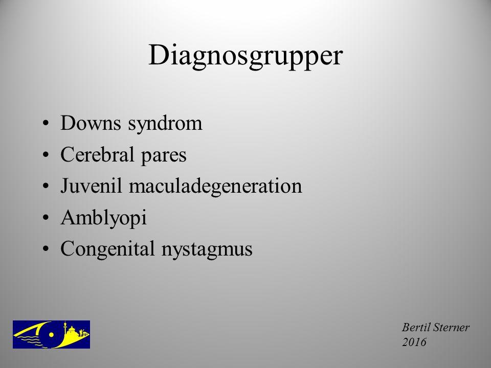 Bertil Sterner 2016 Diagnosgrupper Downs syndrom Cerebral pares Juvenil maculadegeneration Amblyopi Congenital nystagmus