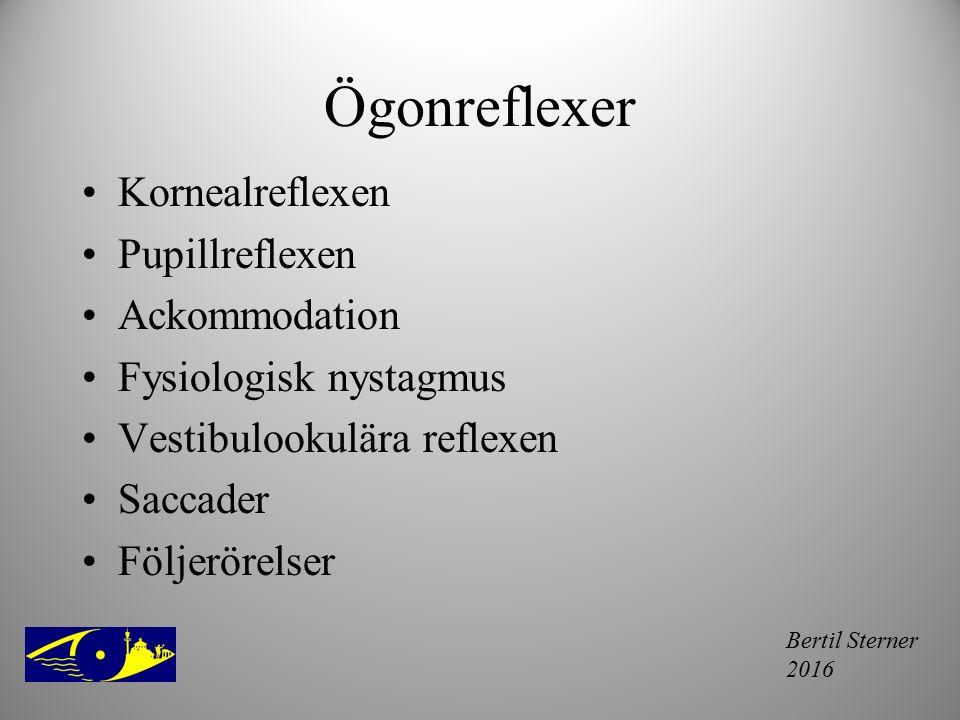 Bertil Sterner 2016 Ögonreflexer Kornealreflexen Pupillreflexen Ackommodation Fysiologisk nystagmus Vestibulookulära reflexen Saccader Följerörelser