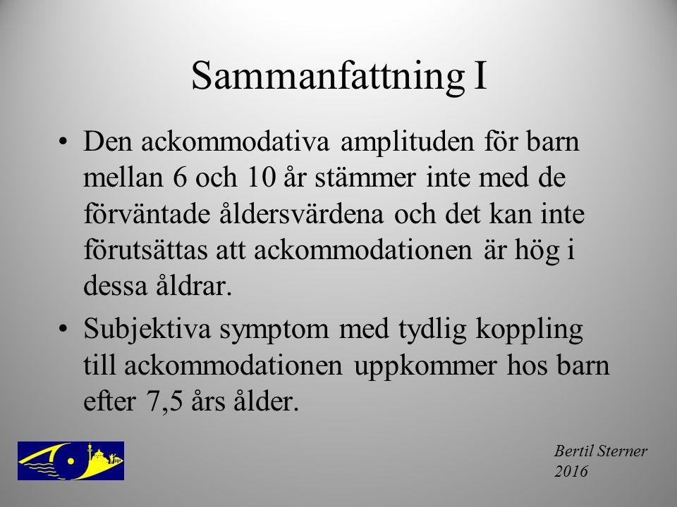 Bertil Sterner 2016 Sammanfattning I Den ackommodativa amplituden för barn mellan 6 och 10 år stämmer inte med de förväntade åldersvärdena och det kan