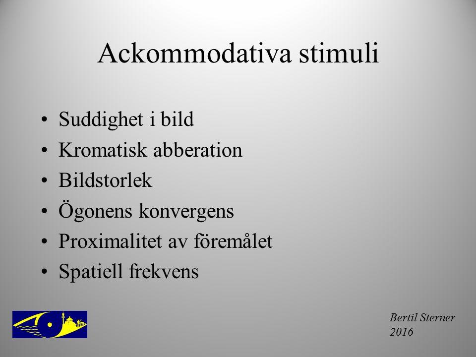 Bertil Sterner 2016 Ackommodativa stimuli Suddighet i bild Kromatisk abberation Bildstorlek Ögonens konvergens Proximalitet av föremålet Spatiell frek