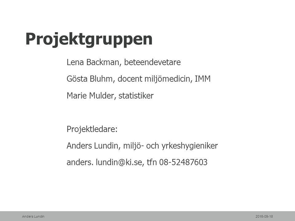 Projektgruppen Lena Backman, beteendevetare Gösta Bluhm, docent miljömedicin, IMM Marie Mulder, statistiker Projektledare: Anders Lundin, miljö- och yrkeshygieniker anders.