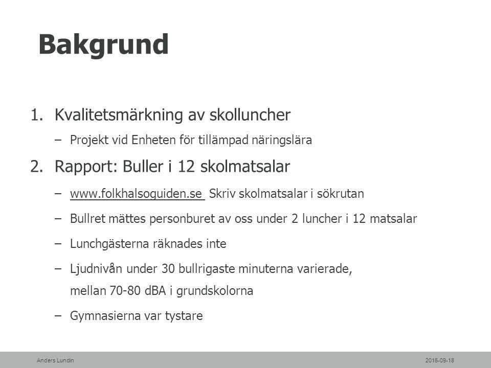 Bakgrund 1.Kvalitetsmärkning av skolluncher –Projekt vid Enheten för tillämpad näringslära 2.Rapport: Buller i 12 skolmatsalar –www.folkhalsoguiden.se