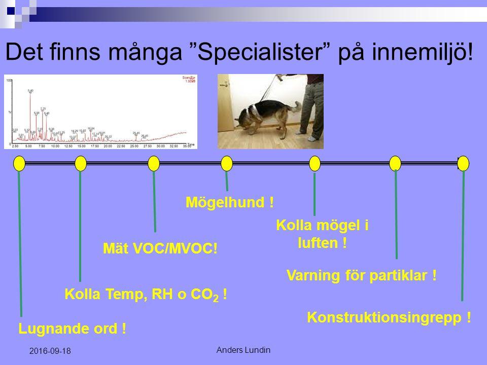 Det finns många Specialister på innemiljö. Anders Lundin 2016-09-18 Kolla Temp, RH o CO 2 .