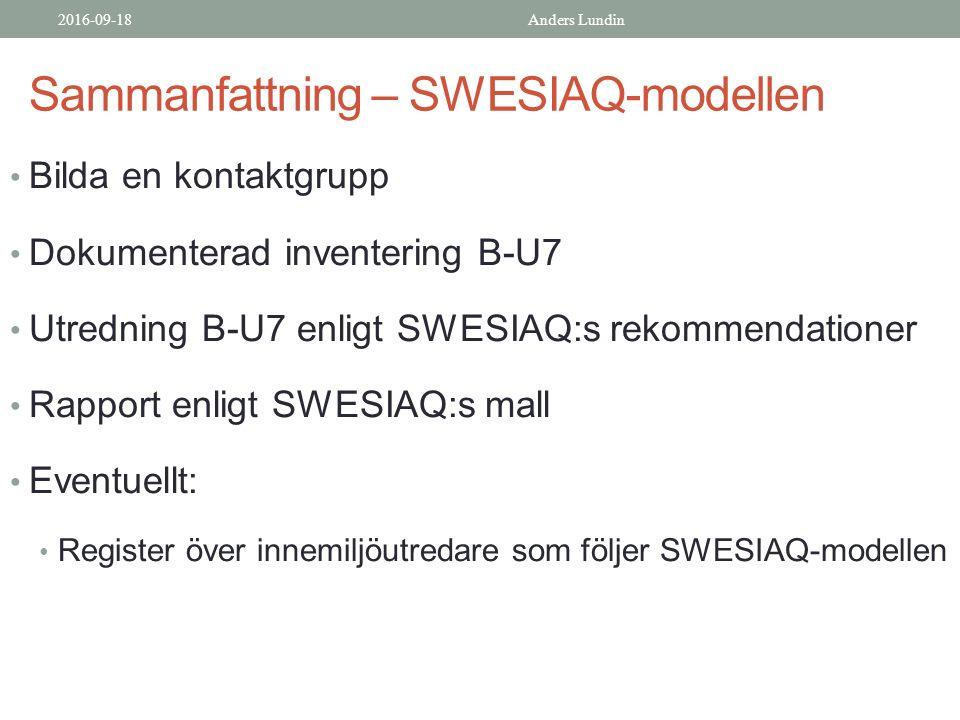 Sammanfattning – SWESIAQ-modellen Bilda en kontaktgrupp Dokumenterad inventering B-U7 Utredning B-U7 enligt SWESIAQ:s rekommendationer Rapport enligt SWESIAQ:s mall Eventuellt: Register över innemiljöutredare som följer SWESIAQ-modellen 2016-09-18Anders Lundin
