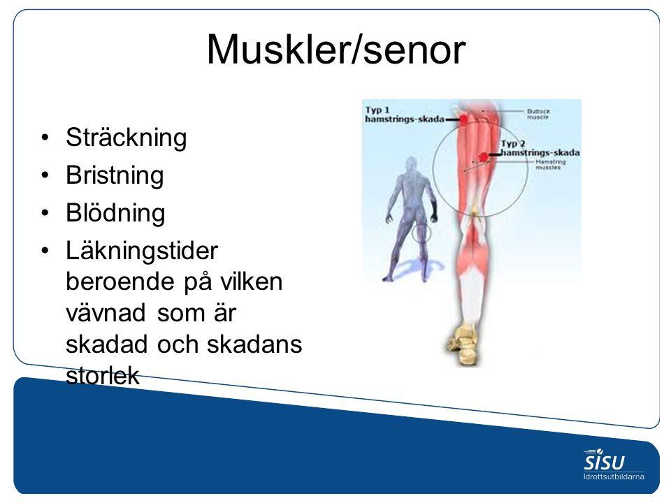 Muskler/senor Sträckning Bristning Blödning Läkningstider beroende på vilken vävnad som är skadad och skadans storlek