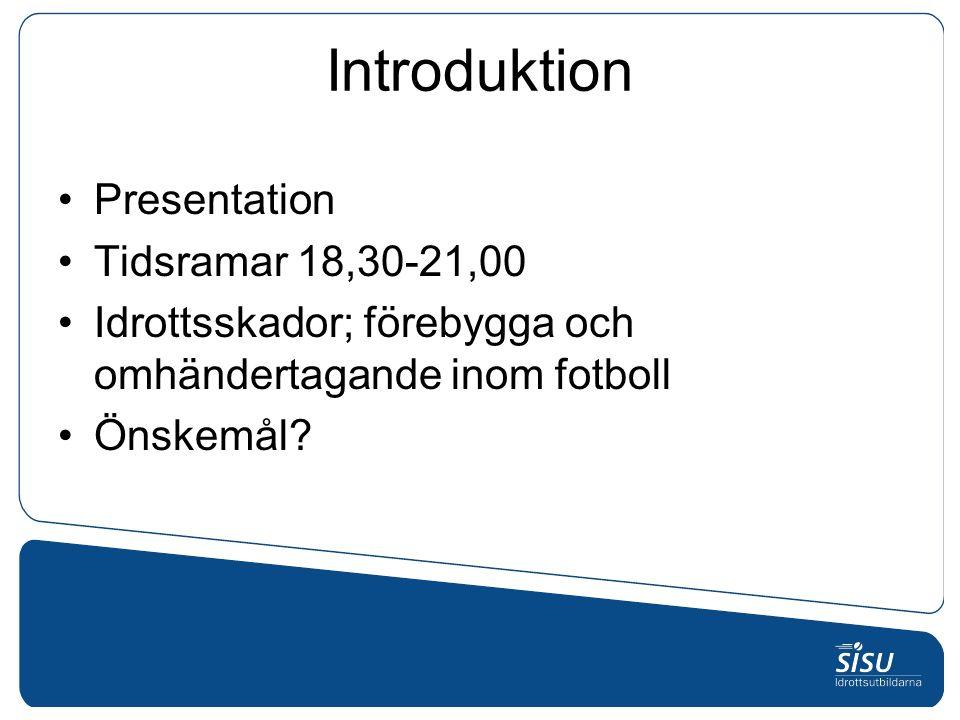 Introduktion Presentation Tidsramar 18,30-21,00 Idrottsskador; förebygga och omhändertagande inom fotboll Önskemål?