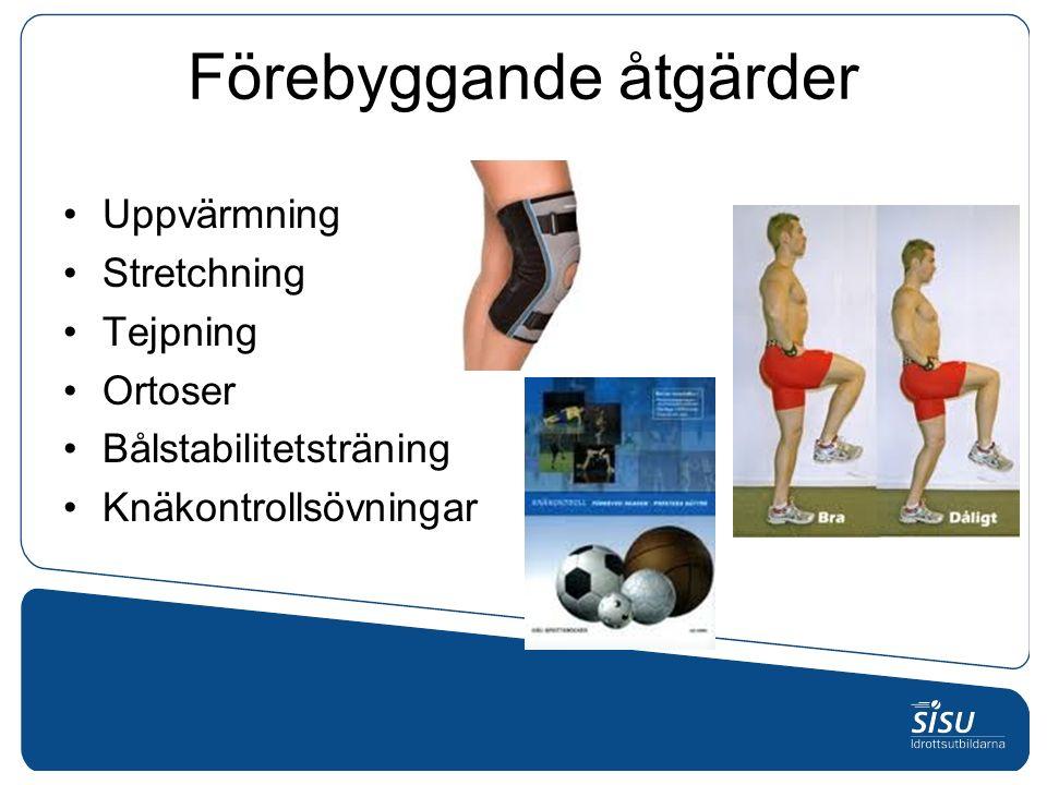 Förebyggande åtgärder Uppvärmning Stretchning Tejpning Ortoser Bålstabilitetsträning Knäkontrollsövningar