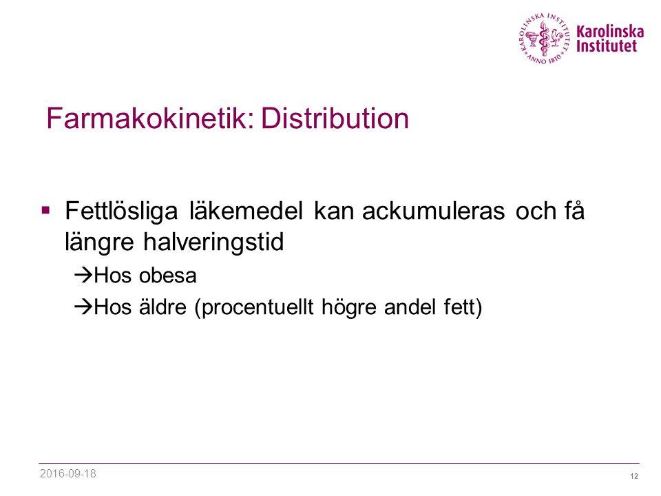 12 Farmakokinetik: Distribution  Fettlösliga läkemedel kan ackumuleras och få längre halveringstid  Hos obesa  Hos äldre (procentuellt högre andel fett) 2016-09-18