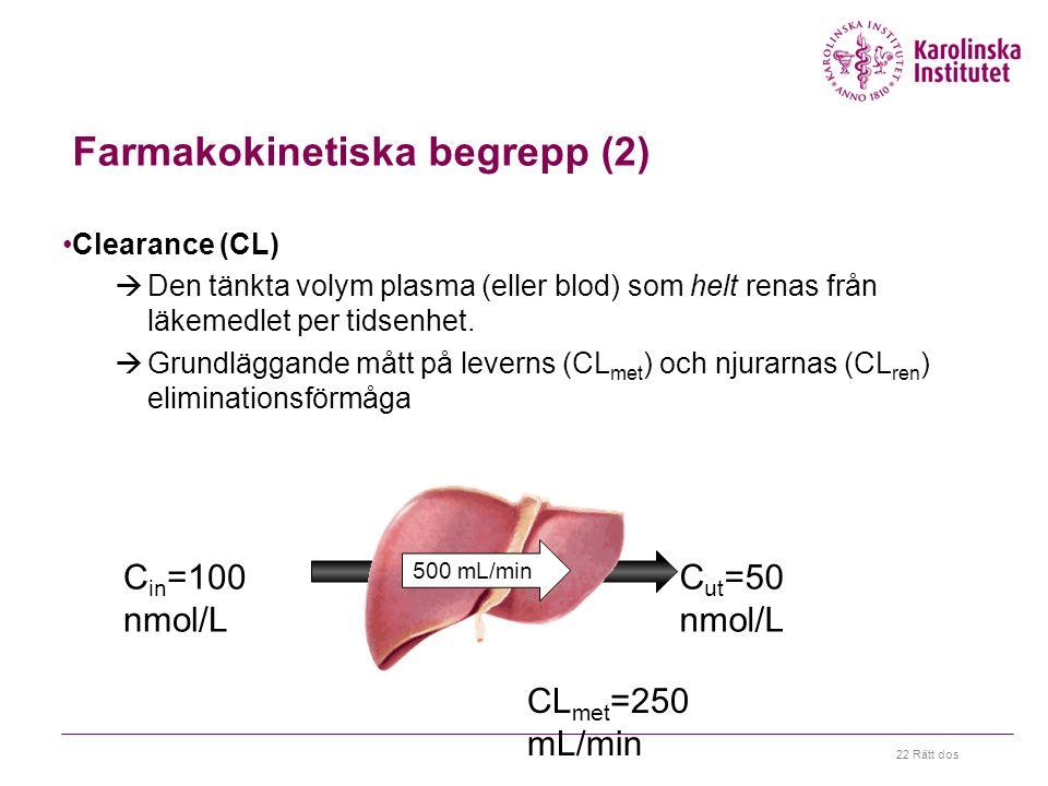 22 Rätt dos Farmakokinetiska begrepp (2) Clearance (CL)  Den tänkta volym plasma (eller blod) som helt renas från läkemedlet per tidsenhet.