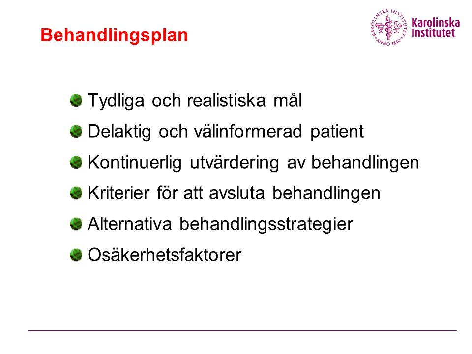 Behandlingsplan Tydliga och realistiska mål Delaktig och välinformerad patient Kontinuerlig utvärdering av behandlingen Kriterier för att avsluta behandlingen Alternativa behandlingsstrategier Osäkerhetsfaktorer