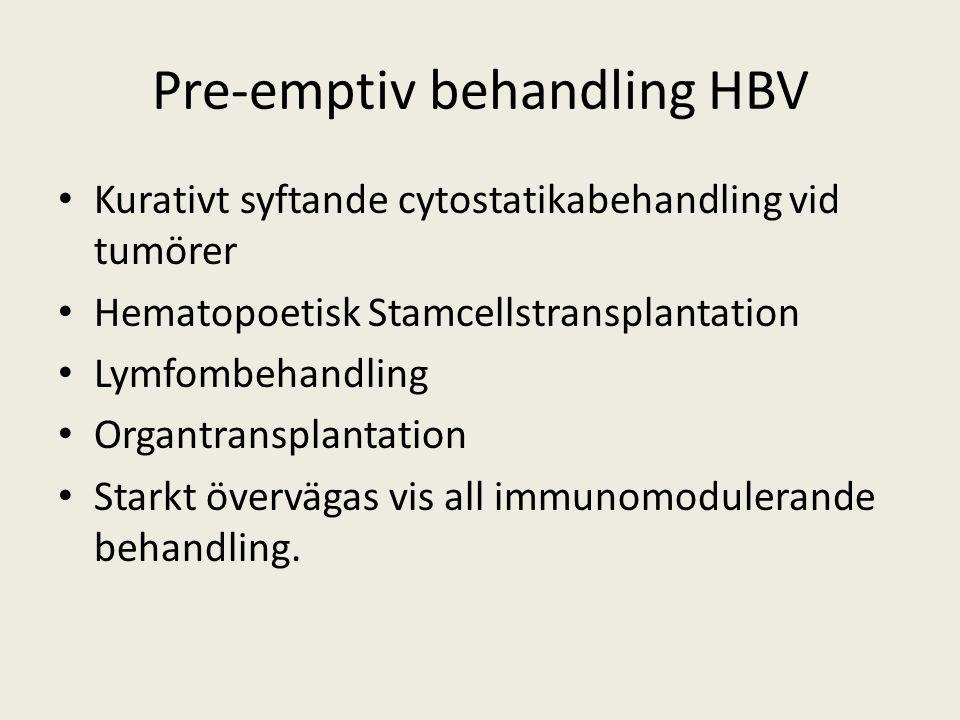 Pre-emptiv behandling HBV Kurativt syftande cytostatikabehandling vid tumörer Hematopoetisk Stamcellstransplantation Lymfombehandling Organtransplantation Starkt övervägas vis all immunomodulerande behandling.