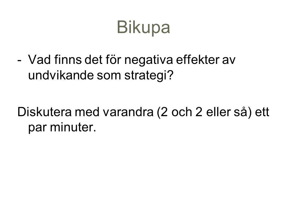 Bikupa -Vad finns det för negativa effekter av undvikande som strategi? Diskutera med varandra (2 och 2 eller så) ett par minuter.