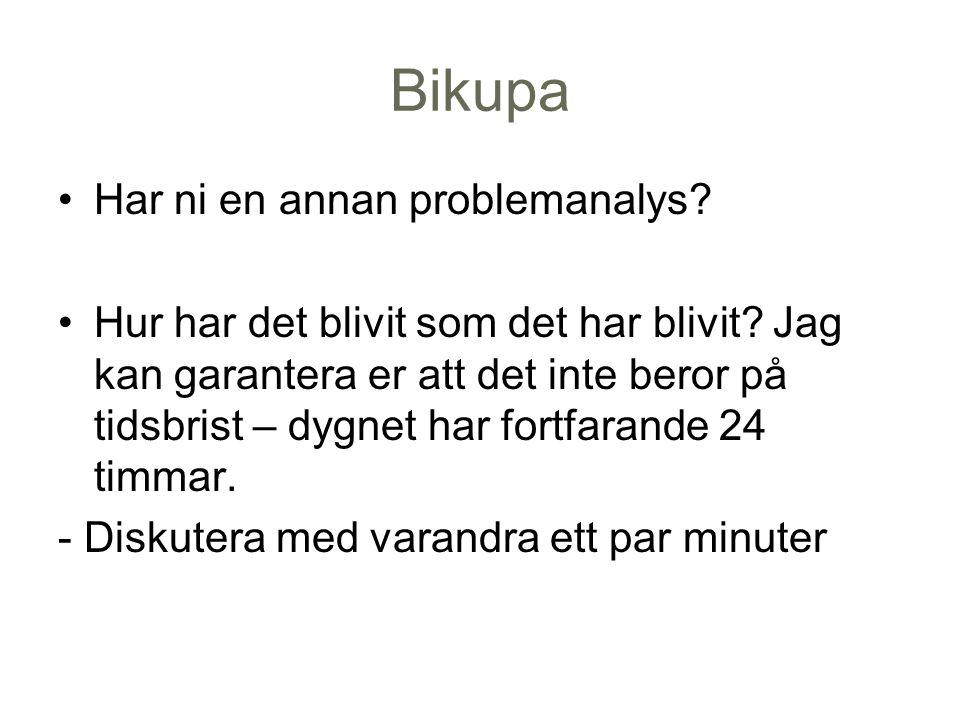 Bikupa Har ni en annan problemanalys. Hur har det blivit som det har blivit.