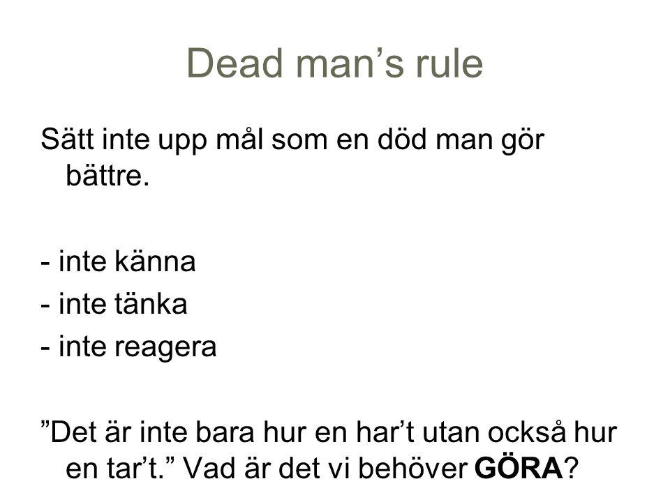 """Dead man's rule Sätt inte upp mål som en död man gör bättre. - inte känna - inte tänka - inte reagera """"Det är inte bara hur en har't utan också hur en"""