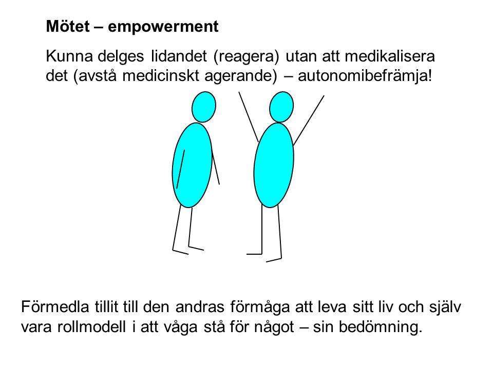 Mötet – empowerment Kunna delges lidandet (reagera) utan att medikalisera det (avstå medicinskt agerande) – autonomibefrämja! Förmedla tillit till den