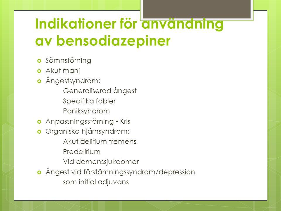 Indikationer för användning av bensodiazepiner  Sömnstörning  Akut mani  Ångestsyndrom: Generaliserad ångest Specifika fobier Paniksyndrom  Anpass
