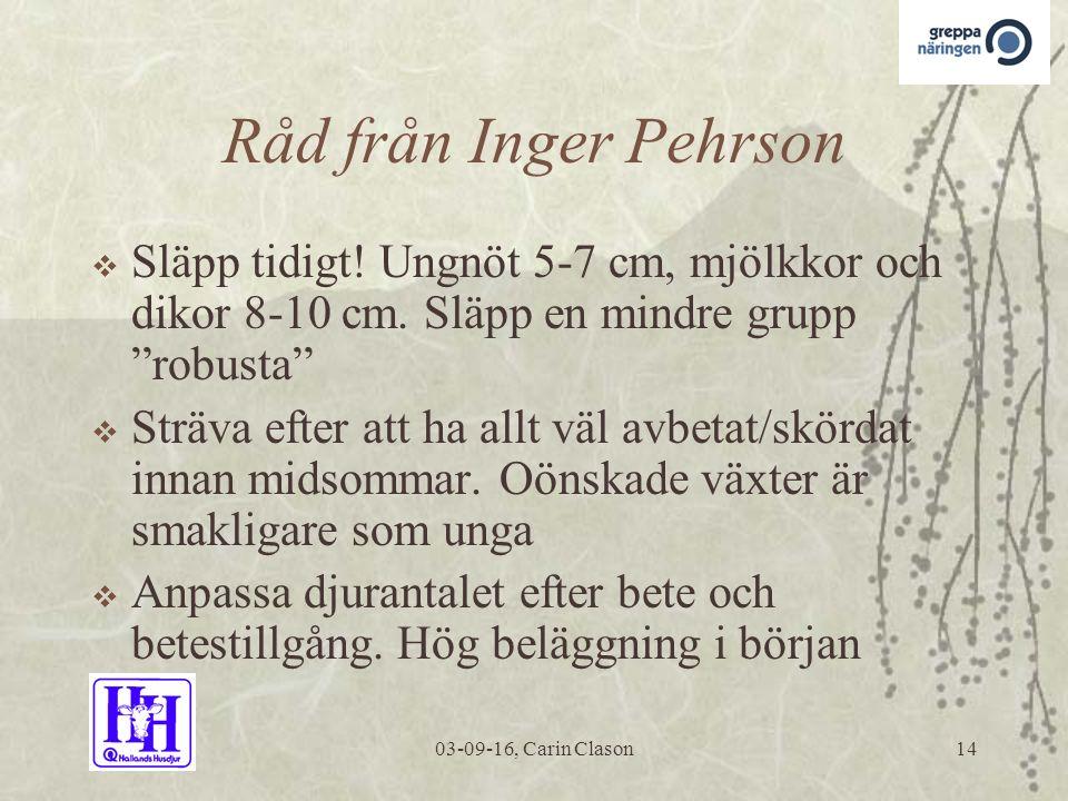 03-09-16, Carin Clason14 Råd från Inger Pehrson  Släpp tidigt.