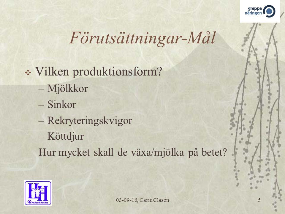 03-09-16, Carin Clason5 Förutsättningar-Mål  Vilken produktionsform.