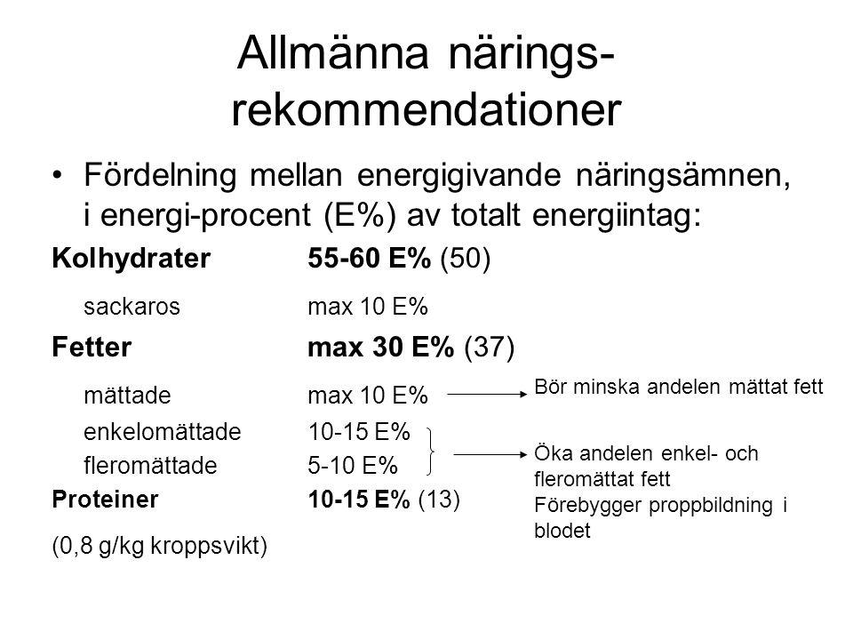 Allmänna närings- rekommendationer Fördelning mellan energigivande näringsämnen, i energi-procent (E%) av totalt energiintag: Kolhydrater55-60 E% (50) sackarosmax 10 E% Fettermax 30 E% (37) mättademax 10 E% enkelomättade10-15 E% fleromättade5-10 E% Proteiner10-15 E% (13) (0,8 g/kg kroppsvikt) Bör minska andelen mättat fett Öka andelen enkel- och fleromättat fett Förebygger proppbildning i blodet