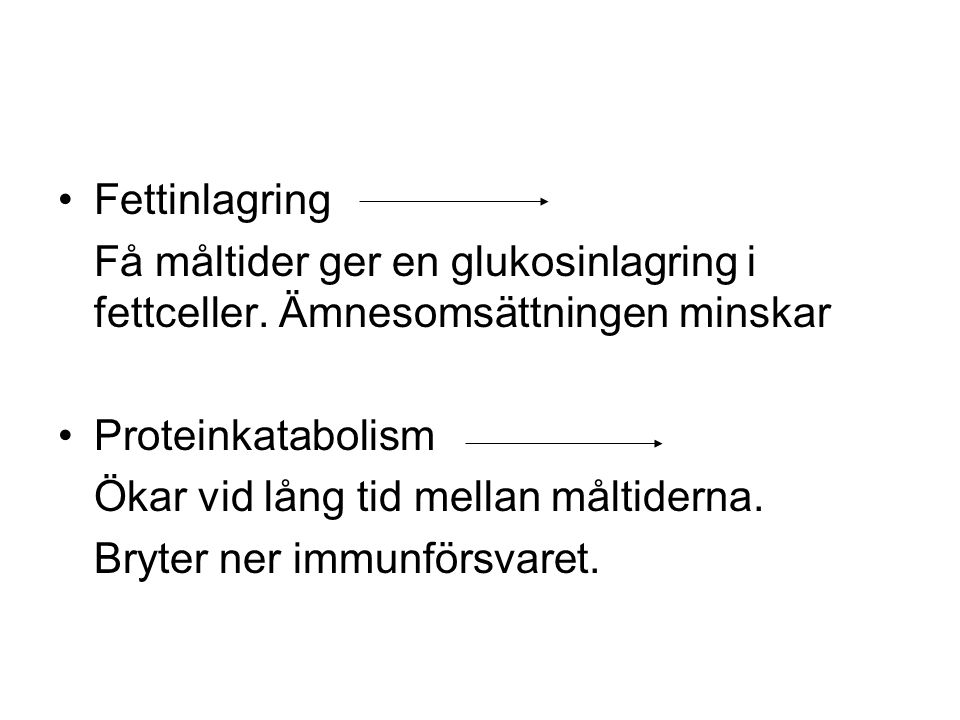 Fettinlagring Få måltider ger en glukosinlagring i fettceller.