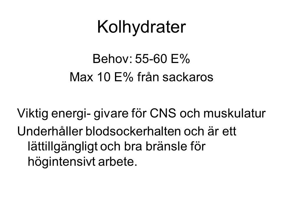 Kolhydrater Behov: 55-60 E% Max 10 E% från sackaros Viktig energi- givare för CNS och muskulatur Underhåller blodsockerhalten och är ett lättillgängligt och bra bränsle för högintensivt arbete.