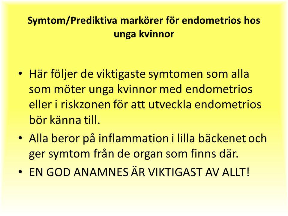 Symtom/Prediktiva markörer för endometrios hos unga kvinnor Här följer de viktigaste symtomen som alla som möter unga kvinnor med endometrios eller i riskzonen för att utveckla endometrios bör känna till.