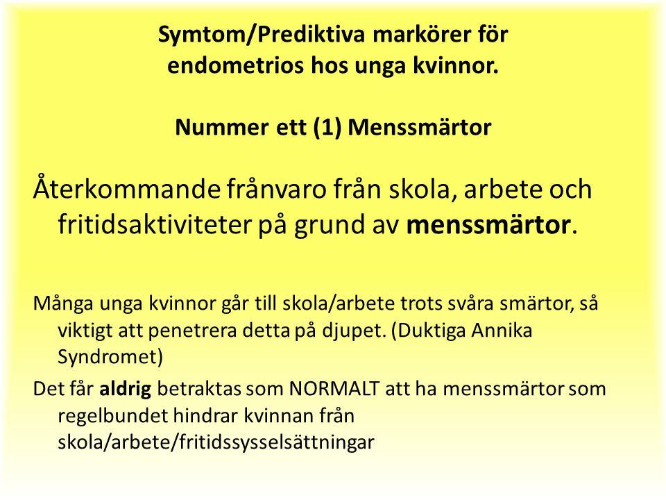Symtom/Prediktiva markörer för endometrios hos unga kvinnor.