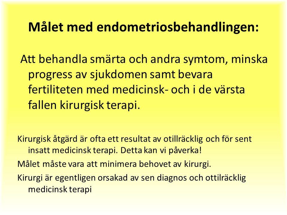 Målet med endometriosbehandlingen: Att behandla smärta och andra symtom, minska progress av sjukdomen samt bevara fertiliteten med medicinsk- och i de värsta fallen kirurgisk terapi.
