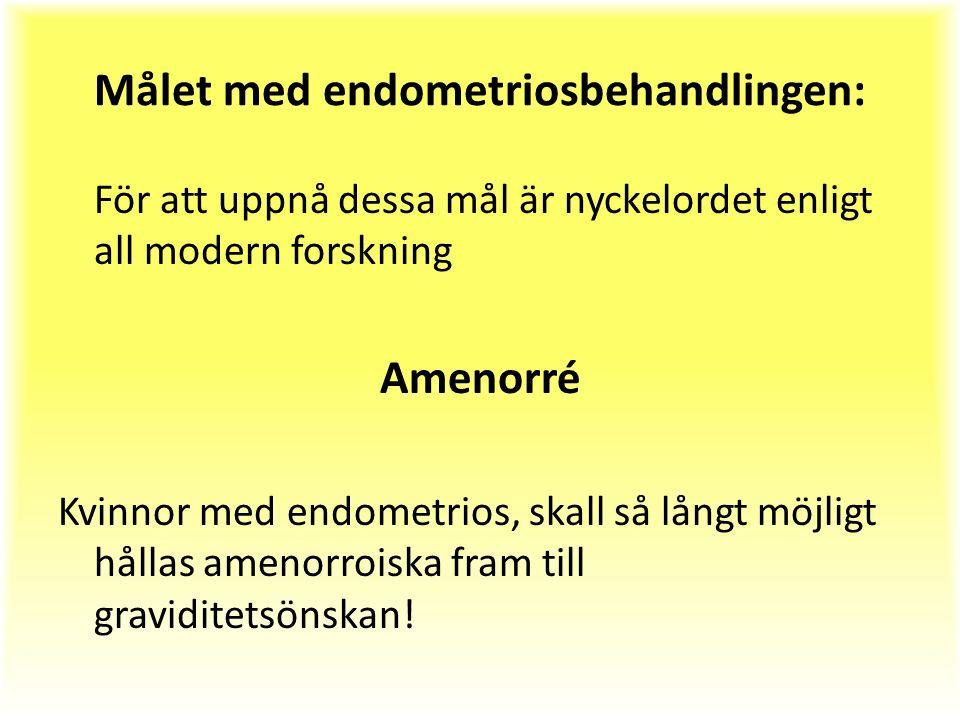 Målet med endometriosbehandlingen: För att uppnå dessa mål är nyckelordet enligt all modern forskning Amenorré Kvinnor med endometrios, skall så långt möjligt hållas amenorroiska fram till graviditetsönskan!