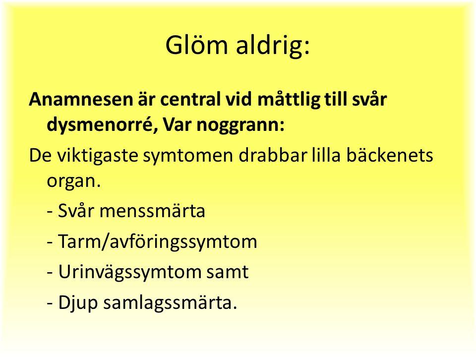 Glöm aldrig: Anamnesen är central vid måttlig till svår dysmenorré, Var noggrann: De viktigaste symtomen drabbar lilla bäckenets organ.