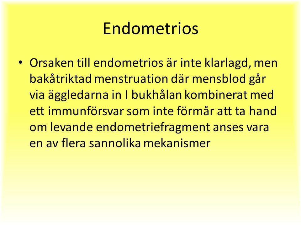 Endometrios Orsaken till endometrios är inte klarlagd, men bakåtriktad menstruation där mensblod går via äggledarna in I bukhålan kombinerat med ett immunförsvar som inte förmår att ta hand om levande endometriefragment anses vara en av flera sannolika mekanismer