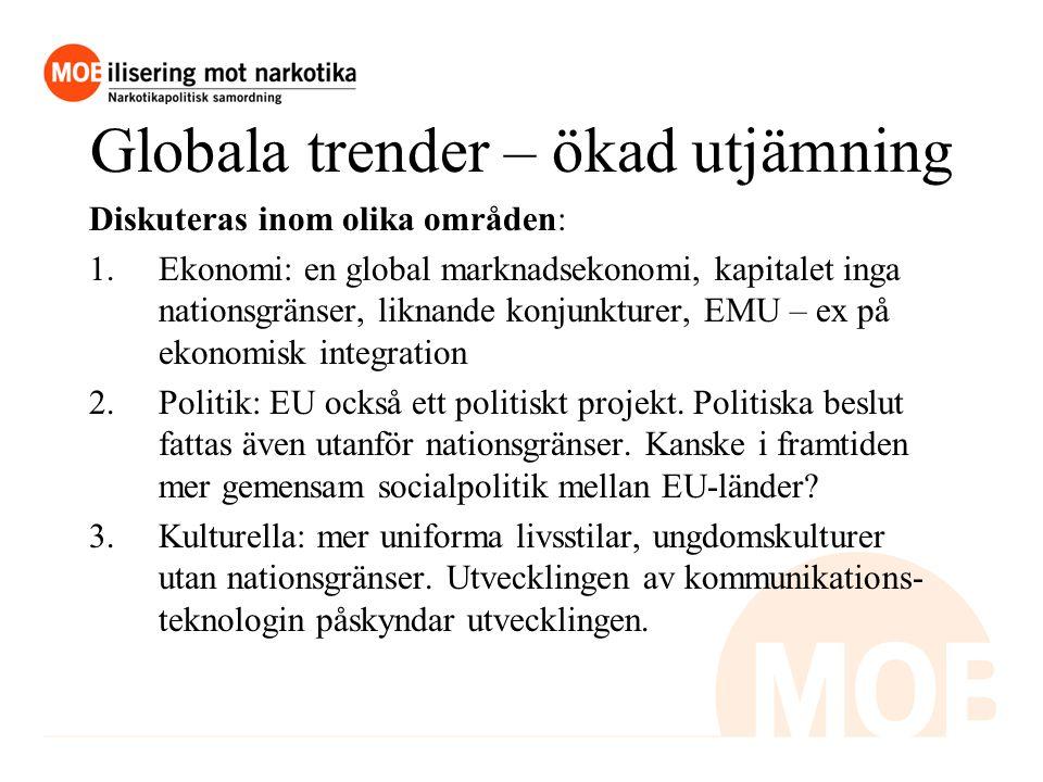 Globala trender – ökad utjämning Diskuteras inom olika områden: 1.Ekonomi: en global marknadsekonomi, kapitalet inga nationsgränser, liknande konjunkturer, EMU – ex på ekonomisk integration 2.Politik: EU också ett politiskt projekt.