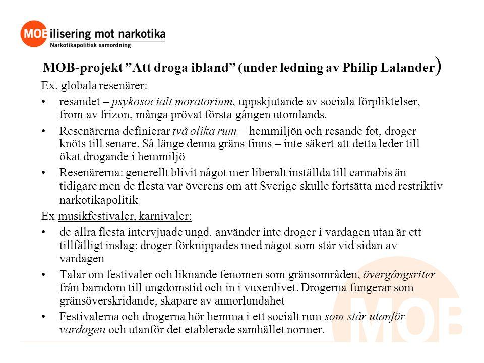 MOB-projekt Att droga ibland (under ledning av Philip Lalander ) Ex.
