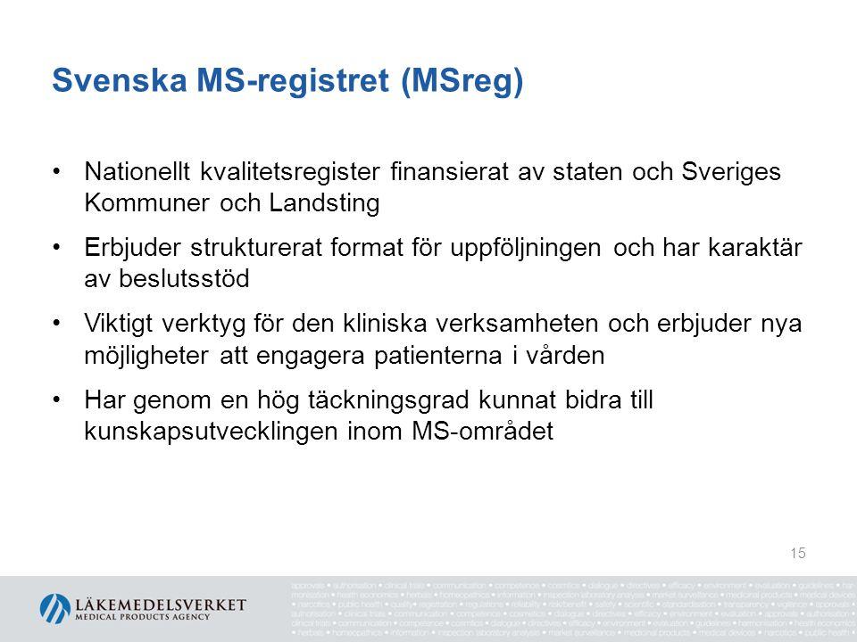 Svenska MS-registret (MSreg) Nationellt kvalitetsregister finansierat av staten och Sveriges Kommuner och Landsting Erbjuder strukturerat format för uppföljningen och har karaktär av beslutsstöd Viktigt verktyg för den kliniska verksamheten och erbjuder nya möjligheter att engagera patienterna i vården Har genom en hög täckningsgrad kunnat bidra till kunskapsutvecklingen inom MS-området 15