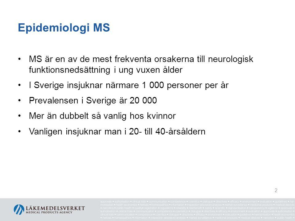 Epidemiologi MS MS är en av de mest frekventa orsakerna till neurologisk funktionsnedsättning i ung vuxen ålder I Sverige insjuknar närmare 1 000 personer per år Prevalensen i Sverige är 20 000 Mer än dubbelt så vanlig hos kvinnor Vanligen insjuknar man i 20- till 40-årsåldern 2