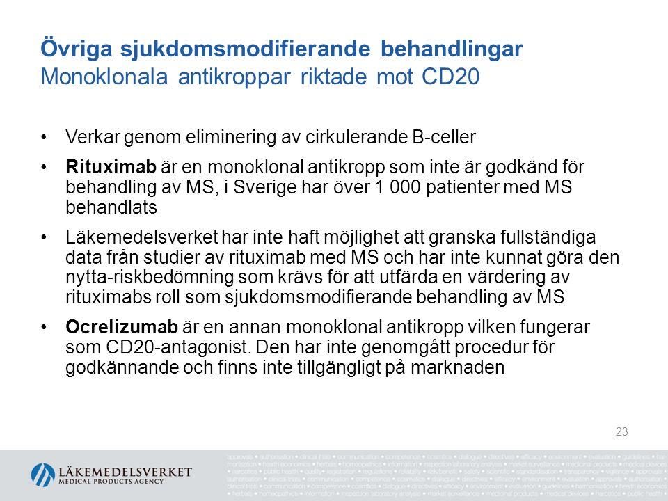 Övriga sjukdomsmodifierande behandlingar Monoklonala antikroppar riktade mot CD20 Verkar genom eliminering av cirkulerande B-celler Rituximab är en monoklonal antikropp som inte är godkänd för behandling av MS, i Sverige har över 1 000 patienter med MS behandlats Läkemedelsverket har inte haft möjlighet att granska fullständiga data från studier av rituximab med MS och har inte kunnat göra den nytta-riskbedömning som krävs för att utfärda en värdering av rituximabs roll som sjukdomsmodifierande behandling av MS Ocrelizumab är en annan monoklonal antikropp vilken fungerar som CD20-antagonist.