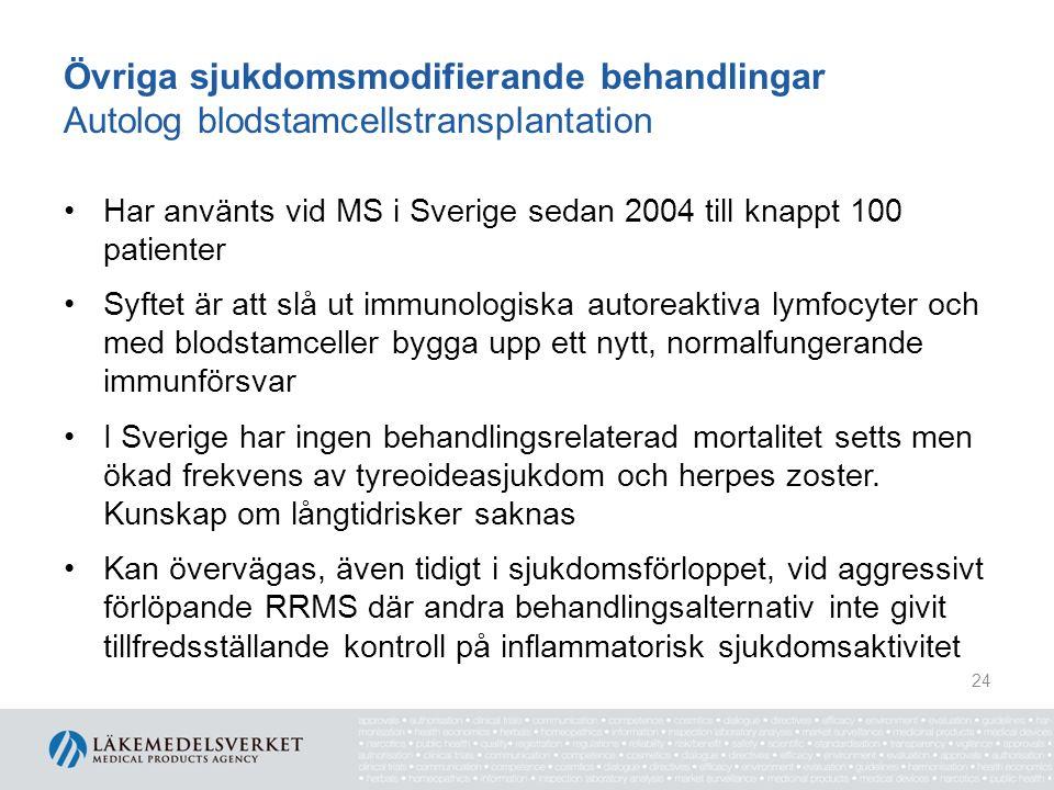 Övriga sjukdomsmodifierande behandlingar Autolog blodstamcellstransplantation Har använts vid MS i Sverige sedan 2004 till knappt 100 patienter Syftet är att slå ut immunologiska autoreaktiva lymfocyter och med blodstamceller bygga upp ett nytt, normalfungerande immunförsvar I Sverige har ingen behandlingsrelaterad mortalitet setts men ökad frekvens av tyreoideasjukdom och herpes zoster.