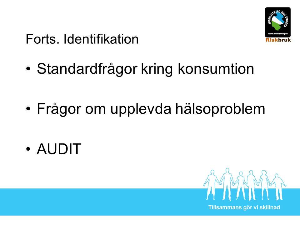 Forts. Identifikation Standardfrågor kring konsumtion Frågor om upplevda hälsoproblem AUDIT