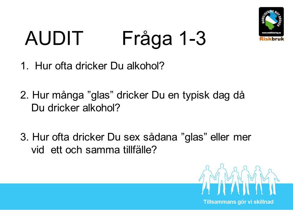 """AUDIT Fråga 1-3 1. Hur ofta dricker Du alkohol? 2. Hur många """"glas"""" dricker Du en typisk dag då Du dricker alkohol? 3. Hur ofta dricker Du sex sådana"""