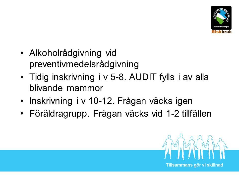 Alkoholrådgivning vid preventivmedelsrådgivning Tidig inskrivning i v 5-8.